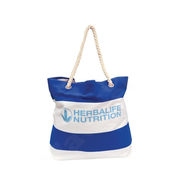 WHITE COTTON CANVAS BEACH BAG WITH THICK ROPES – HERBALIFE