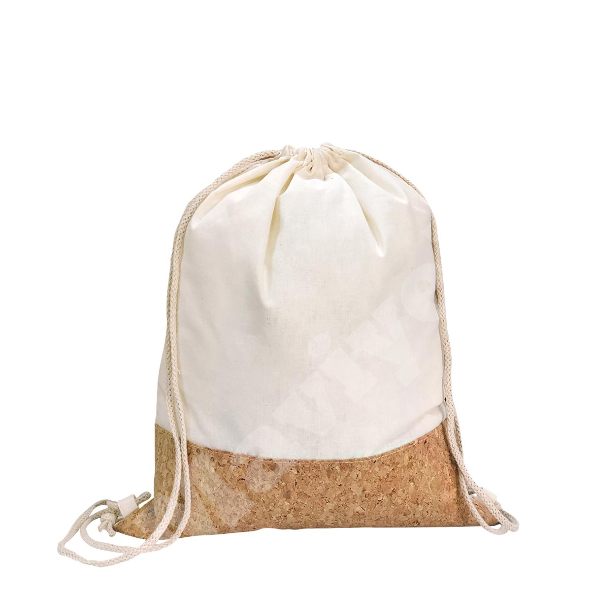 100% NATURAL COTTON DRAWSTRING BACKPACK WITH CORK DETAILS