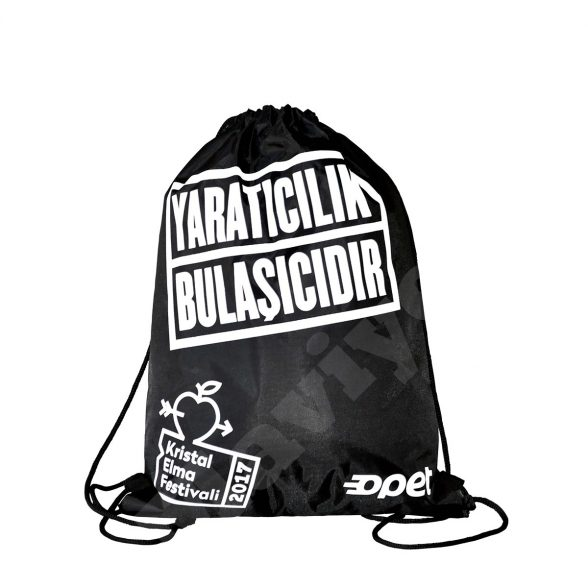 BLACK POLYESTER DRAWSTRING BACKPACK