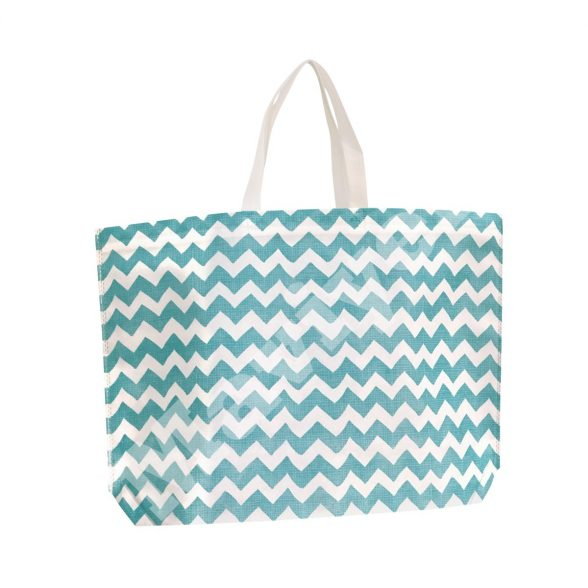 HEAT SEALED BLUE ZIGZAG NONWOVEN STOCK BAG