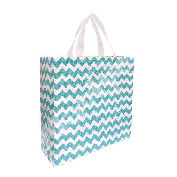 HEAT SEALED LAMINATED BLUE ZIGZAG STOCK BAG
