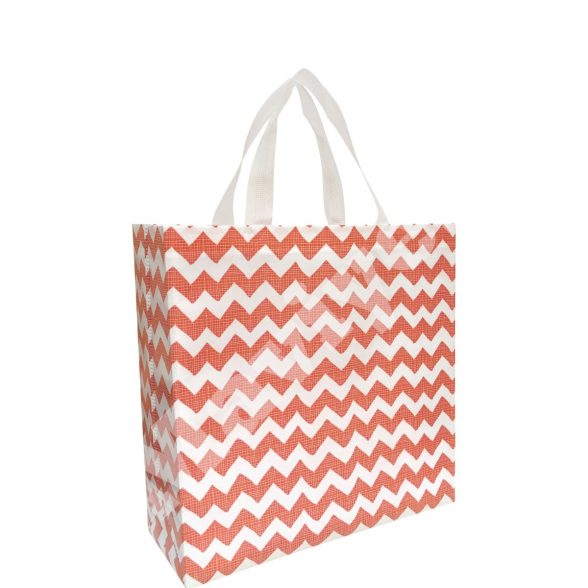 HEAT SEALED LAMINATED RED ZIGZAG STOCK BAG