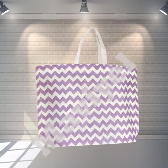 HEAT SEALED PURPLE ZIGZAG NONWOVEN STOCK BAG