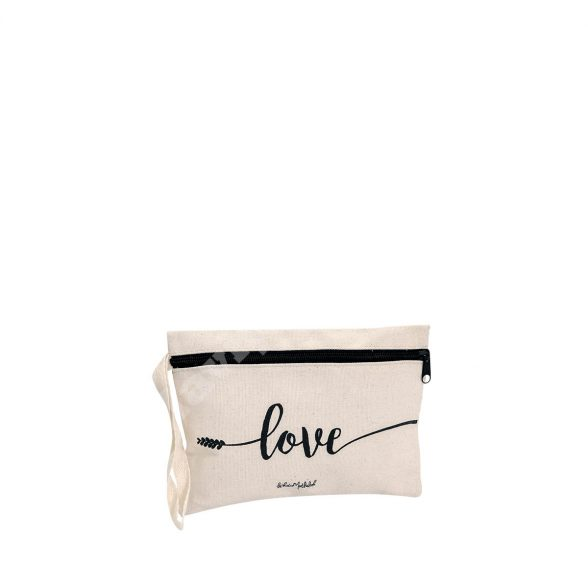 FLAT MODEL COTTON CANVAS MAKEUP BAG – LOVE